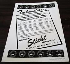Vintage 1954 Herman H. Sticht Co. Tachometers Dealer Product Catalog L