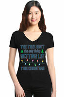 The Tree Isn't The Only Thing Getting Lit Women's V-Neck T-shirt Christmas Tee
