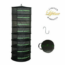 Herb Drying Rack Net Dryer 8 Layer 2ft Black W/Green Zippers Mesh Hydroponics