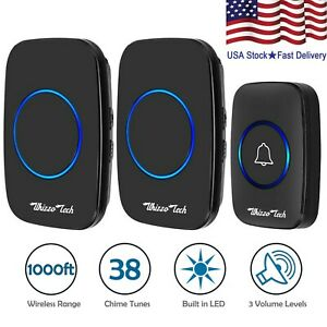 Wireless Doorbell Waterproof 2 Plugin Receiver Adjustable Volume 1000FT 38 Chime