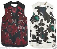 New NEXT Floral Chiffon Sleeveless Funnel Neck Embellished Party Top Size 10- 20