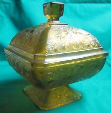 """Acorn & Oak Leaf"" Patterned Amber Colored Covered Pedestal Candy Dish"