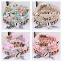 Bracelet Multilayer Natural Boho Beaded Women Jewelry Stone Bangle Crystal 4Pcs
