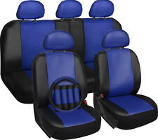 Faux Leather Seat Cover for Honda Civic Blue w/Steering Wheel/Belt Pad/Head Rest