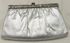 Harry Levine Hl Usa Vintage Silver Clutch Purse Hand Bag Snap Closure