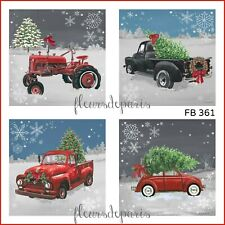 Vintage Home for the Holidays Old Red Trucks Tractor 4 Prints on Fabric FB 361