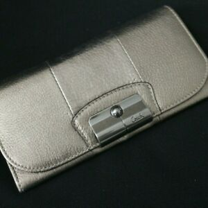 NWT COACH Kristin Metallic Marcasite Gold Leather Flap Env Wallet 43671 NEW