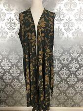 LuLaRoe Joy Long Vest Green Beige Multicolor Floral Sleeveless Vest Duster XL