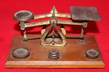 Vintage Balance Scale, England, 4 Weights, Wood Base - Postal Letter Scale