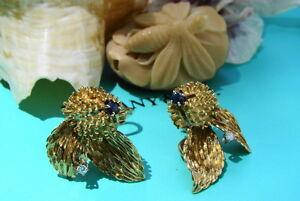 Tiffany & Co. 18kt Yellow Gold, Diamond & Sapphire Thistle Flower Earrings, RARE