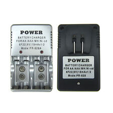 AA AAA 9V Volt 2A 3A 10440 14500 6F22 PP3 PR-828 rechargeable battery charger US