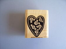 STAMPIN' UP RUBBER STAMPS HEART SILHOUETTE WITH ROSE BUDS STAMP