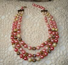 Vintage Pink Bead Necklace 3 Strand