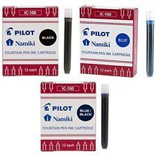Pilot Namiki IC50 Fountain Pen Ink Cartridge Black, Blue, Blue/Black -3 Pack Tot