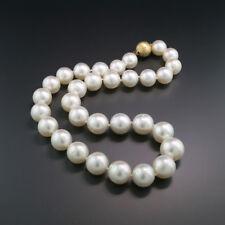 db0e343ecfeb Lujoso Collar Perlas Del Mar Del Sur Blanco 13-16mm Brillantes Top Araña  750 Oro