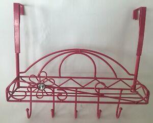 Nice Contemporary Pink  Key/Towel Holder Rack Flower Ornate Hanging Wall C1