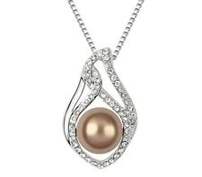 18K WHITE GOLD GP SWAROVSKI Elements CRYSTAL Brown Pearl NECKLACE SF12071419