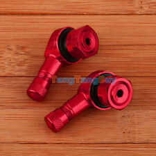 2 pcs Motorcycle Valve Stems CNC 90 Degree Angled 11.3mm Tire Aluminum Red