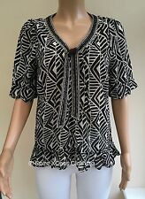 Monsoon Brown Cream Beaded Trim Chiffon Blouse Top Size 10