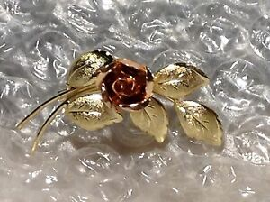 9ct YELLOW AND ROSE GOLD LEAF AND FLOWER BROOCH
