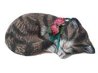"Ceramic Tabby Sleeping Cat Figurine Pottery 6.75"" Scioto Ceramics 1992?"