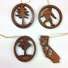 California Redwood Wood Souvenir Christmas Ornament Set of 4 USA Handmade