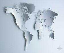 M Weltkarte aus Edelstahl - Wanddekoration (Wandbild, Stahl, Metall, Modern)