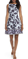NWT Womens Vince Camuto Sleeveless Floral Stripe Print Fit & Flare Dress Sz 14