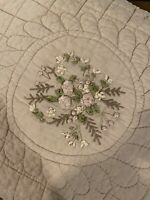 Vintage embroidered pillow sham roses standard country shabby chic farmhouse