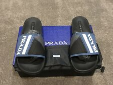 AUTHENTIC MENS PRADA SLIDERS - BLUE BLACK AND GREY LOGO RUBBER - SIZE UK 10
