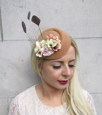 Nude Tan Brown Beige Blush Pink Feather Pillbox Hat Hair Fascinator Races 3781
