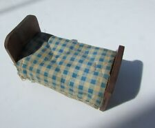 "Dollhouse Bedroom Bed Antique Attached Quilt Plaid Wood Schoenhut 4"" H"