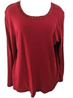 Talbots Woman knit top Size 1X red long sleeve beads neckline cotton
