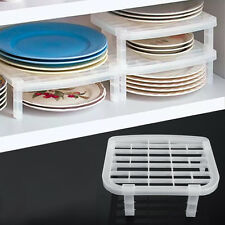 Dish Plate Rack Organizer Storage Holder Shelf Space Saving Foldable Plastic SS
