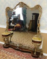 Fantastic Baroque Style Gilt Carved & Inlaid Vanity Dressing Pier Mirror  c1980s