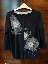 M&S PER UNA ladies navy blue cardigan 3/4 sleeve with floral embroidery size 12