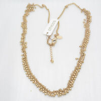 "36""-40"" Chico's signed women jewelry matte gold tone cluster long necklace chain"