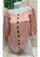 Maeve Anthropologie Blouse Top Women Size 00 XS Pink Linen