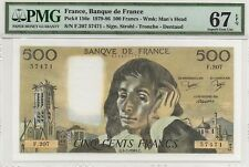 FRANCE 1984 500 FRANCS NOTE, P156e, PMG 67 EPQ