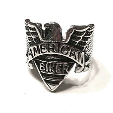 AMERICAN BIKER WITH EAGLE STAINLESS STEEL RING SIZE 11 motorcycle enthusiast