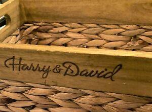 "Handmade Wood & Woven Water Hyacinth Basket Box Harry & David 12"" x 7"" Handles"