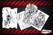 Airbrush Schablonen 4er Grunge FX SET - Effekt und Struktur Schablonen Stencil