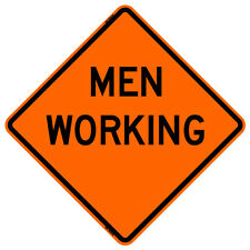 """Bone Safety MEN WORKING (48"""") Roll-Up Sign with Ribs..FLUORESCENT VINYL"""