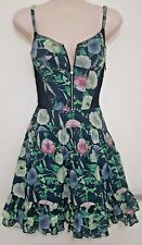 SIZE 6 WOMEN'S BLUE FLORAL SHOULDER STRAP 'BETTINA LIANO' SUMMER DRESS