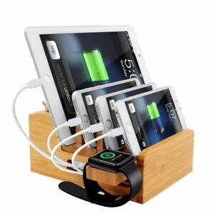 Bamboo Charging Station Stand Desktop Organizer Tablet Cellphone Multi-Devices