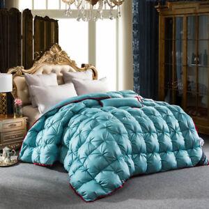 100% Cotton Blue Luxury Goose Down Full Queen King Comforter Throw Blanket