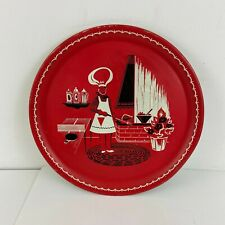 Barbeque Vtg Tin Litho Platter Tray 50's Grilling Steak Ribs Red