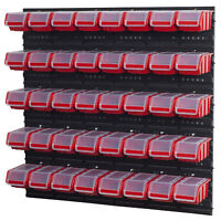 Stapelboxen Set 4 x Wandregal  Lagersystem + 40 Boxen in rot