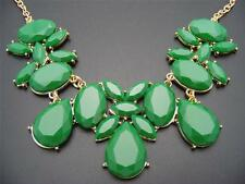"$24 Stephan & Co Green Faceted Cabochon Statement Necklace 22"" Goldtone Chain"