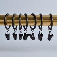 WINOMO 20 Stück Vorhangringe Metall mit Klammer für Gardinenstangen
